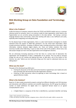 RDA Working Group on Data Foundation and Terminology (DFT)