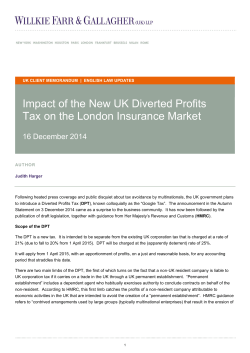 Impact of the New UK Diverted Profits Tax on the London Insurance