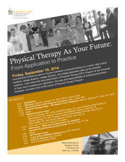 Physical Therapy As Your Future - University of Iowa Carver College