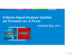 X-Series Signal Analyzer Updates (w/ Firmware rev. A.14.xx)