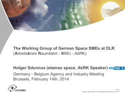 The Working Group of German Space SMEs at DLR