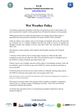 Wet Weather Policy