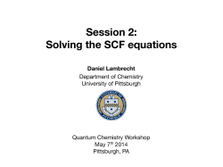 Session 2: Solving the SCF equations