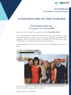 E-VOYAGES, DMC OF THE YEAR 2014!