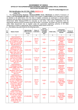 TENDER Notice No 06 of 2014-15