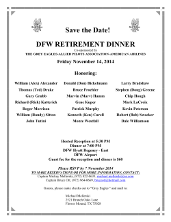 Save the Date! DFW RETIREMENT DINNER