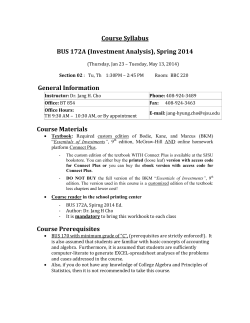 Course Syllabus BUS 172A (Investment Analysis), Spring 2014