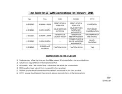 Time Table for SETWIN Examinations for August