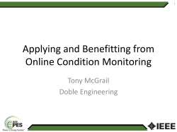 Applying and Benefitting from Online Condition Monitoring