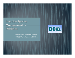 Kevin Walters – Aquatic Biologist MI DEQ Water Resources Division