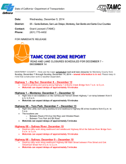 tamc cone zone report - Transportation Agency for Monterey County