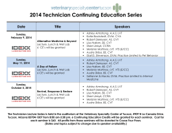 2014 Technician CE Series - Veterinary Speciality Center of Tucson
