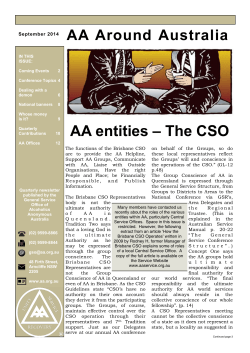 AA entities – The CSO - Alcoholics Anonymous