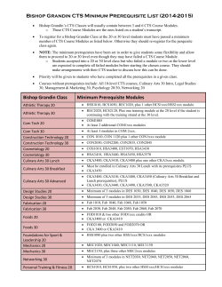 Bishop Grandin CTS Minimum Prerequisite List (2014