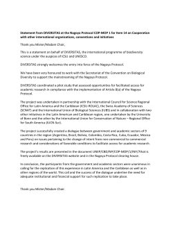 Statement from DIVERSITAS at the Nagoya Protocol COP
