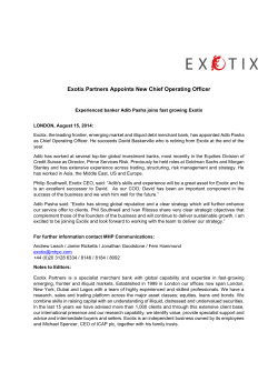 Exotix Partners Appoints New Chief Operating Officer