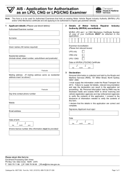 Application for Authorisation as a LPG or LPG/CNG Examiner