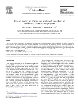 Cost of quality in Dubai: An analytical case study of residential