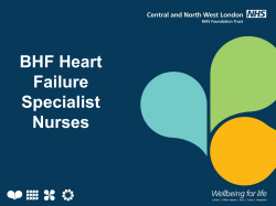 Role of BHF nurse in community/Heart Failure Case Study