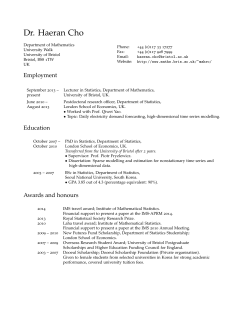 Dr. Haeran Cho: Curriculum Vitae - University of Bristol