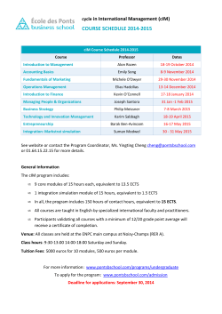 cIM Course Schedule 2014-2015 - École des Ponts Business School