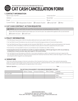 cat cash cancellation form - Northwestern University Dining Services