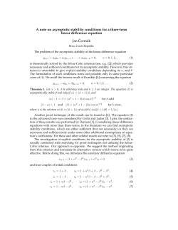 A note on asymptotic stability conditions for a three