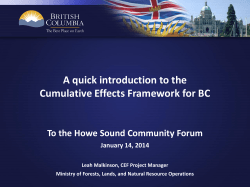 A quick introduction to the Cumulative Effects Framework for BC