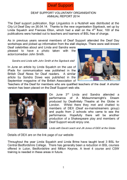 Annual Report 2014 - Deaf Support Home Page