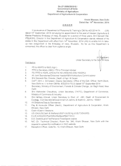 NO.27-2885/201 O-E.I Government of India Ministry of Agriculture