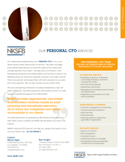 OUR PERSONAL CFO SERVICES