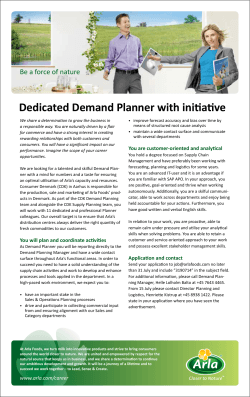 Dedicated Demand Planner with initiative