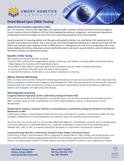 Dried Blood Spot (DBS) Testing