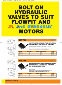 BOLT ON HYDRAULIC VALVES TO SUIT FLOWFIT AND MOTORS