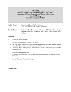 Board Meeting Agenda - South San Joaquin Irrigation District