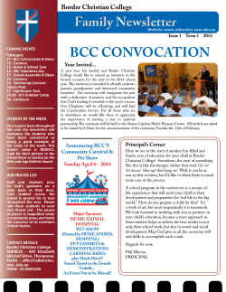 Family Newsletter BCC CONVOCATION