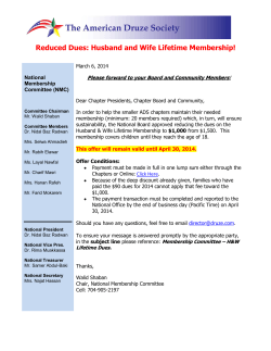 Reduced Dues: Husband and Wife Lifetime Membership!