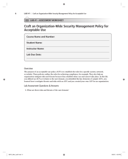Craft an Organization-Wide Security Management Policy for