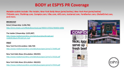 BODY at ESPYS PR Coverage - ESPN Event Wrap