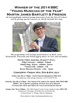 "Winner of the 2014 BBC ""Young Musician of the Year"" Martin James"