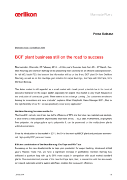 BCF plant business still on the road to success
