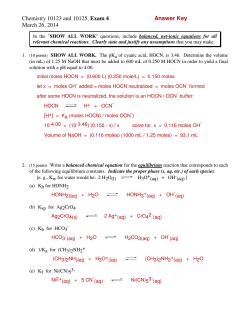 Chemistry 10123 and 10125, Exam 4 Answer Key March 26, 2014