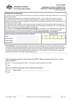 Form 61-2ADF Notification of Issue of CASR Part 61 Instructor or