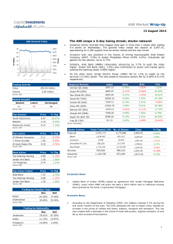 ASE Market Wrap-Up 13 August 2014