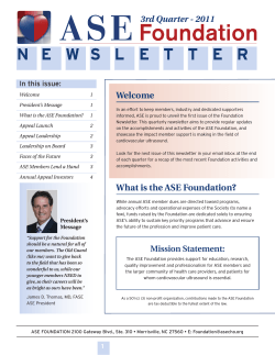 Fall 2011: The Inaugural Issue - ASE Foundation for Cardiovascular
