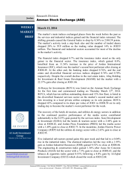 Amman Stock Exchange (ASE) WEEKLY MARKET BRIEF
