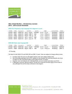 VCC - ASL and Deaf Studies Timetable
