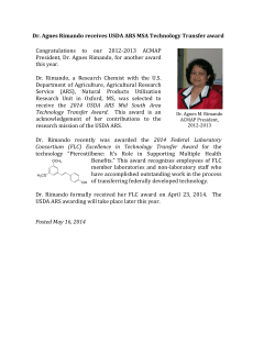 Dr. Agnes Rimando receives USDA ARS MSA Technology Transfer