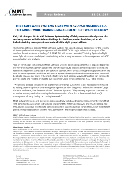Read Press release... - MINT Software Systems