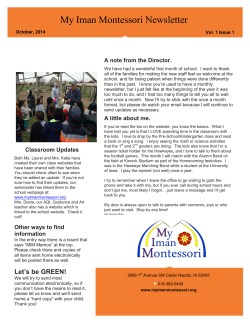 October 2014 - My Iman Montessori